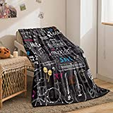 Music Note Blanket Black Throw Blanket Music Notes Sherpa Fleece Blanket Kids Teen Guitar Piano Soft Warm Plush Blanket for Bed Couch (Music, Throw(50'x60'))
