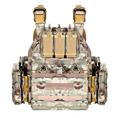 YAKEDA - Gilet militare tattico da uomo, gilet softair, a sgancio rapido, regolabile, (CP)