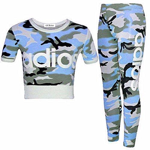 GUBA Guba® Mädchen-Top und Leggings, 2-teiliges Set, Camouflage, 7-13 Jahre Gr. 9-10 Jahre, Adios Blue Camouflage