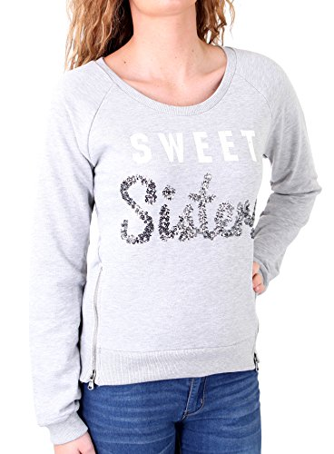 Madonna Sweatshirt Damen Liz Deko-Zipper Short Sweater mit Aufdruck MF-407009 Grau S
