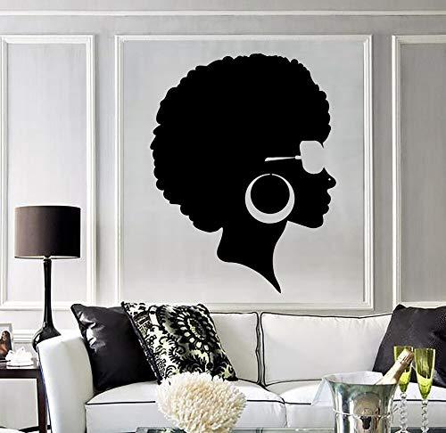 Geiqianjiumai Fashion zwarte muursticker vrouw kapsel Afrikaanse vrouw muurdecoratie vinyl muur salon Afrikaanse creatieve decoratie