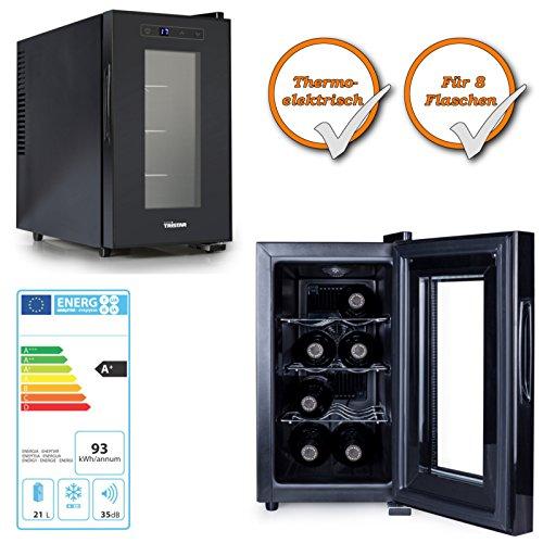 hochwertiger Weinkühlschrank | Weinkühler Getränkekühler | Minibar Kühlschrank | für 8x Weinflaschen | 21 Liter Volumen