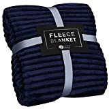 GREEN ORANGE Fleece Blanket King Size – 108x90, Lightweight, Navy Blue – Soft, Plush, Fluffy, Warm, Cozy – Perfect Throw for Couch, Bed, Sofa