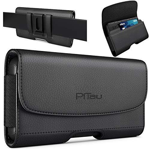 Bomea Samsung Galaxy S10 Plus Holster, Galaxy S9 Plus S8 Plus Belt Holster Case with Belt Clip, Leather Cellphone Pouch w/ Credit Card Holder for Samsung s10+ Plus/S9+/S8+ (Fits Phone with Case On)