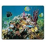 マウスパッドゲームマウスパッドナチュラルゴムマウスマットカリブ海でカラフルな海スポンジと魚の水中生活M0A00335