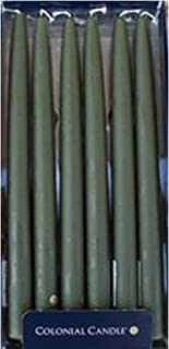 Colonial Candle Moss Green Unscented 10 in Handipt Taper Candles