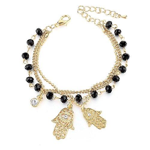 Autiga Damen Armband Fatimas Hand, Hamsa, Schmuck-Armband Glücksbringer, Gold