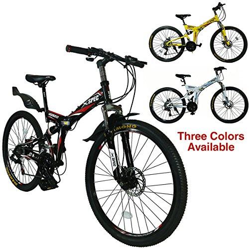 Xspec 26' 21-Speed Folding Mountain Trail Bicycle Commuter Foldable Bike, Black/White/Gunmetal Blue