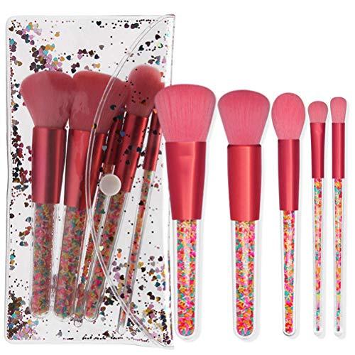 5 Pcs Portable Make Up Brushes Set Cristal Poignée Poudre Brosse Cils Brosse Pinceau Sourcils Brosse Cosmétique Brosse Set Outil De Maquillage avec Paillettes Sac