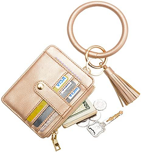 COOLANS Wristlet Bracelet Keychain Card Holder Card Pocket PU Leather Purse Tassel Keychain Bangle Key Ring for Women Girls (Purse 06 Lychee Pattern Coffee Gold)