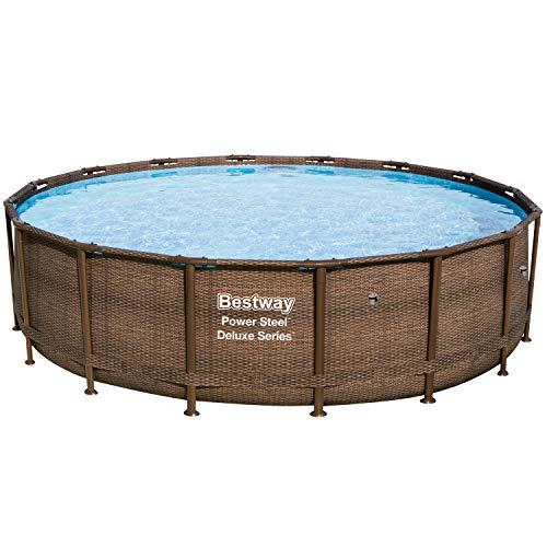 Bestway Power Steel Frame-Pool, rund ohne Pumpe und Zubehör, Ersatzteil, Rattan, 488 x 488 x 122 cm