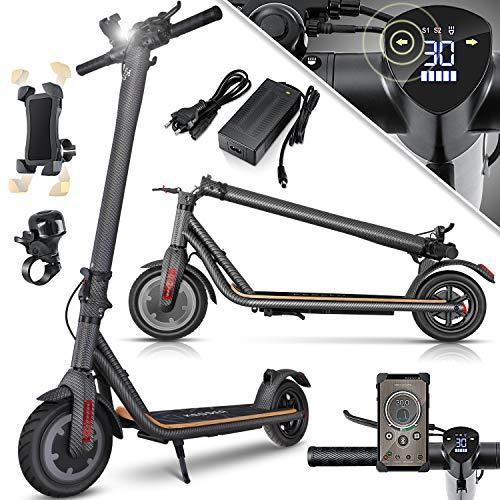KESSER® Elektro Scooter 700 W E-Scooter mit APP & Bluetooth E-Roller Elektroroller Faltbar 9,5 Zoll Reifengröße bis zu 30 km/h Aluminium Klappbar max. Belastung 120kg, LED Anzeige Akku Carbon