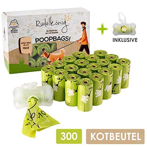 Rudelkönig Hundekotbeutel mit gratis Beutelspender - Umweltfreundlich & abbaubar - 300 auslaufsichere Kotbeutel extra dick & reißfest - 15 Beutel pro Rolle
