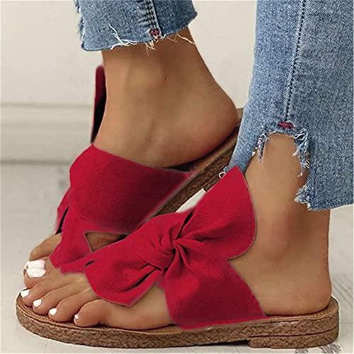DYHOZZ Women Bowknot Flats Flat Heel Sandals, Women's Orthopedic Comfy Premium Summer Slippers, Open Toe Flat Casual Beach Slipper Slide Bunion Corrector Sandals