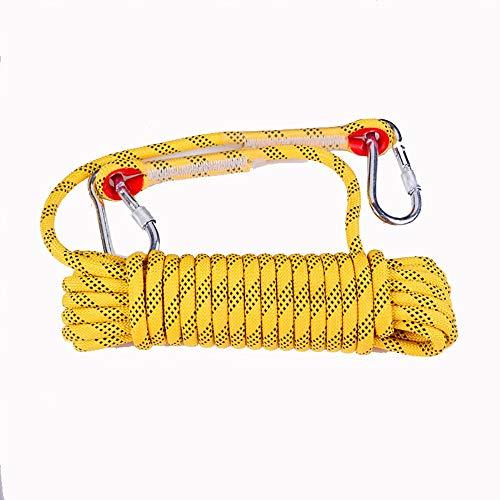 Keliour Corde di Arrampicata Arrampicata Corda Corda statica Corda di Fuga di Soccorso di Salvataggio della Corda di Nylon 10MM 20MM (Giallo) per la Pesca Escursionistica