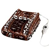 Tefici Electric Blanket Heated Throw with Fast Heating Technology,3 Heating Levels & 4 Hours Auto Off,Home Office Use,50' x 60'Moose Pattern
