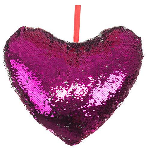Brandsseller Cojín decorativo con forma de corazón con lentejuelas que cambian de color, 42 x 42 x 13 cm, plateado/rosa