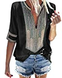 Minetom Camiseta Básica Mujer Vintage Bohemio Blusa Manga Corta Cuello en V Estampado Blusas de Fiesta Oficina Playa Vacaciones Verano Boho T-Shirt Tops A Negro ES 40