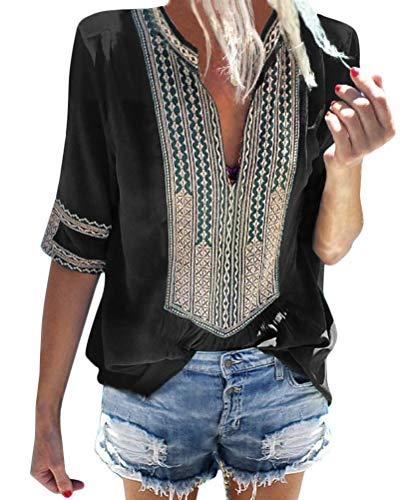 Minetom Camiseta Básica Mujer Vintage Bohemio Blusa Manga Corta Cuell