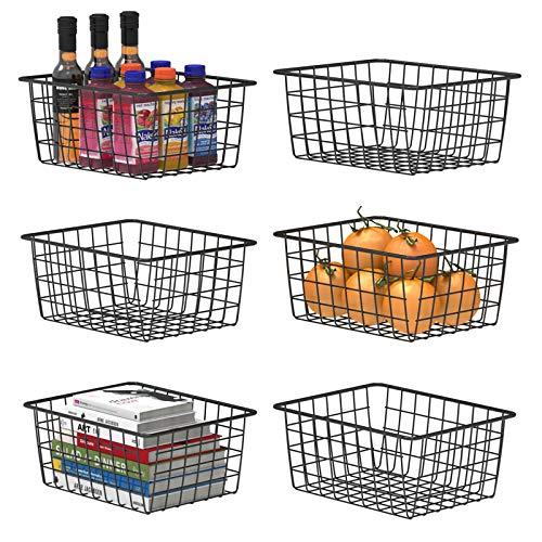 Cesta de almacenamiento de alambre, color F, 6 cestas de metal para almacenamiento organizador, para despensa, estante, congelador, cocina, armario, baño, pequeño, negro