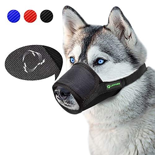 ILEPARK Respirable Bozal de Nylon para Perros Suave Permite Beber, Jadear Bozal Lazo Ajustable (XXL,Negro)