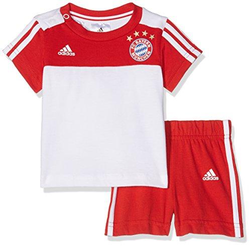adidas Kinder FC Bayern 3-Stripes Summer Trikot-Set, FCB True Red/White, 104