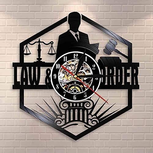 RIII Waage Justiz Anwalt Büro Gericht Dekoration Anwalt Anwalt Wanduhr Anwalt Vinyl Schallplatte Wanduhr Rechtsordnung Liefergeschenk 30 × 30Cm