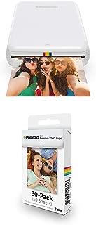 Polaroid ZIP Wireless Mobile Photo Mini Printer (White) with Polaroid 2x3ʺ Premium ZINK Zero Photo Paper 50-Pack
