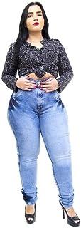 Calça Jeans Feminina Latitude Plus Size com Cinta Nara Azul