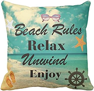 Kissenday 18X18 Inch Beach Rules Relax Unwind Enjoy Retro Marine Life Fun Quote Saying Cotton Polyester Decorative Home Decor Sofa Couch Desk Chair Bedroom Car Birthday Gift Square Throw Pillow Case