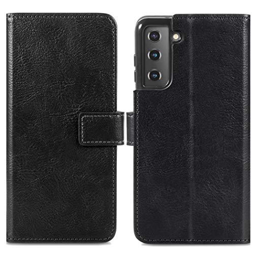 iMoshion kompatibel mit Samsung Galaxy S21 Hülle – Luxuriöse Handyhülle – Handytasche in Schwarz [Mit Ständer, Platz für 3 Karten, Magnetverschluss]