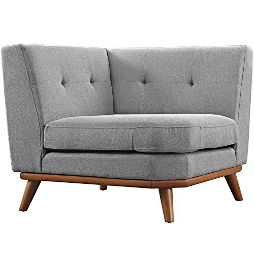 Modway Engage Mid-Century Modern Upholstered Fabric Corner Sofa in Expectation Gray