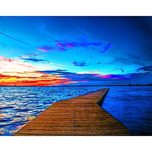 5D DIY diamante pintura paisaje muelle puente puesta de sol junto al mar diamante punto de cruz conjunto mosaico arte imagen A11 30x40cm