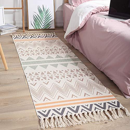 PAKASEPT Alfombra pequeña de algodón con borlas, tejida a mano, antideslizante, lavable, para dormitorio, cocina, lavandería, 60 x 180 cm