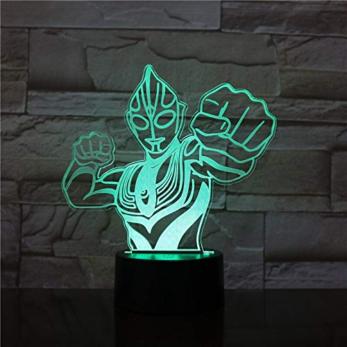 New Amroe Novetly Lampara Ultraman Altman 3D RGB LED Night Light Sleep Desk Lamp USB Touch 7 Color Change Kid Boy Christmas Gift