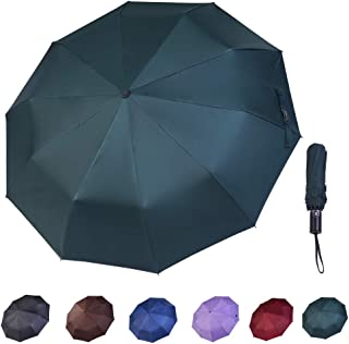 CANASOUR Windproof 10 Ribs Travel Umbrella with Auto Open Close Button (Army Green)