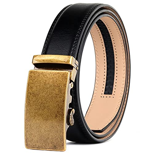 SZBLYY Cinturón Hombre Cinturón de trinquete de Moda Cinturón Negro Correa de cinturón para Hombre Hebilla de Oro Casual Cinturón automático Cuero de Lujo Correas de pantalón Formal