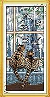 クロスステッチキット刻印刺繡-猫アーティスト用-大人の初心者スターターキット-DIYクロスステッチ針仕事フルレンジのプリントパターンクラフト家の装飾ギフト11CT(16x20インチ)
