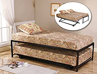 Kings Brand Furniture 39'' / Twin Size Black Metal High Riseer Bed Frame with Pop Up Trundle