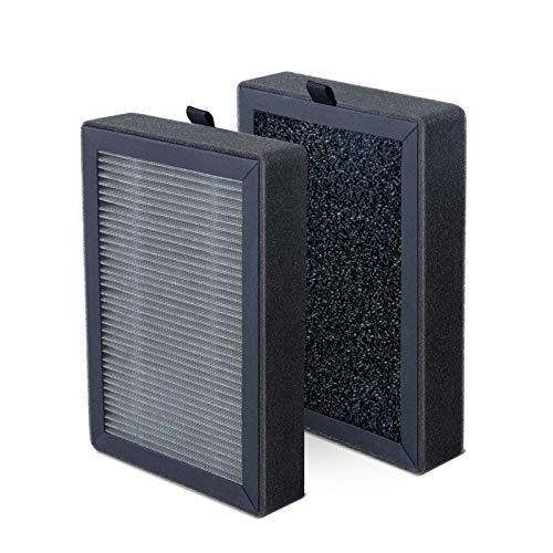 LEVOIT LV-H13EU Filtro de Repuesto para Purificador de Aire, Filtro de Carbón Activado de Alta Eficiencia, Paquete de 2, Portátil, Negro, LV-H13EU