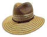 Sombrero Panamá De Rafia Color Marrón con Cinta De Piel, Sombrero de Playa, Sombrero de Verano, Sombrero de Primavera, Hombre, Mujer,Unisex, sombero para el Sol, Verano, Primavera