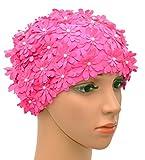 Medifier Bonnet de bain multicouche avec pétales de fleurs style rétro pour femme Rose
