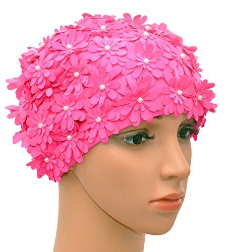 Medifier Schwimmhaube Mehrschichtig Blumen Blüten Retrostil Duschhaube Kappe für Damen rosa