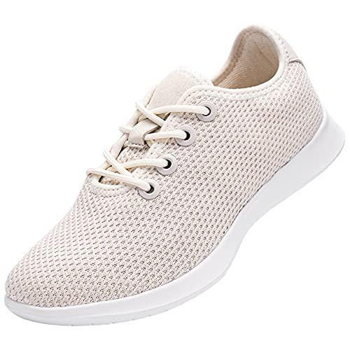 DYKHMATE Zapatillas de Running de Mujer Zapatos para Gimnasio Ligero Respirable Sneakers Zapatillas de Deporte Hidrófugo Pies Descalzos(Beige,38 EU)