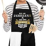 Popuppe - Grembiule da cucina nero con scritta in lingua tedesca 'Bin AM Grillen' (stile 01)
