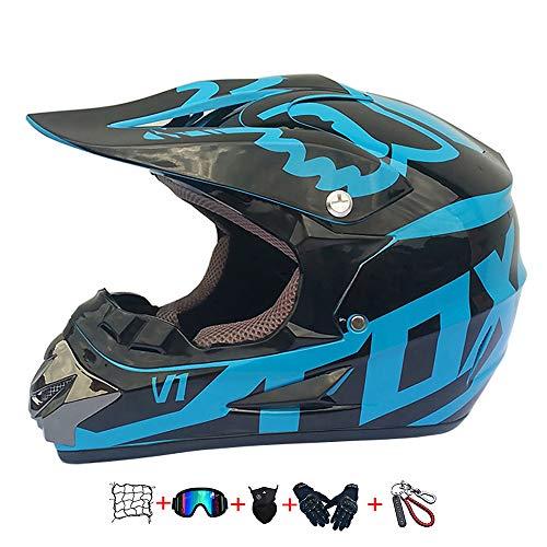 casco da motociclista per bambini , casco da motociclista per bambini (occhiali, guanti, maschera, guanti) Casco da motocross con occhiali protettivi adatto a giovani uomini e donne o bambini