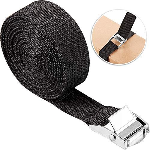 Tie-down Strap Adjustable Lashing Straps Adjustable Cam Buckle Tension Belt Car Roof Rack Belt for Motorcycle, Cargo, Trailer, Trucks, Luggage, Surfboard, Kayak, 3 m x 25 mm, Black