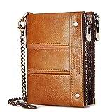 Cartera plegable de piel con bloqueo RFID, doble cremallera, monedero de bolsillo para dinero en efectivo