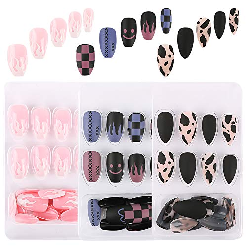 UFLF 48pcs Uñas Postizas Bailarina Cortas+24pcs Tips Uñas Puntas Presión Acrílica de 12 Tamaños Fake Art Nails con Adhesivo para Manicura y Diseños Uñas DIY
