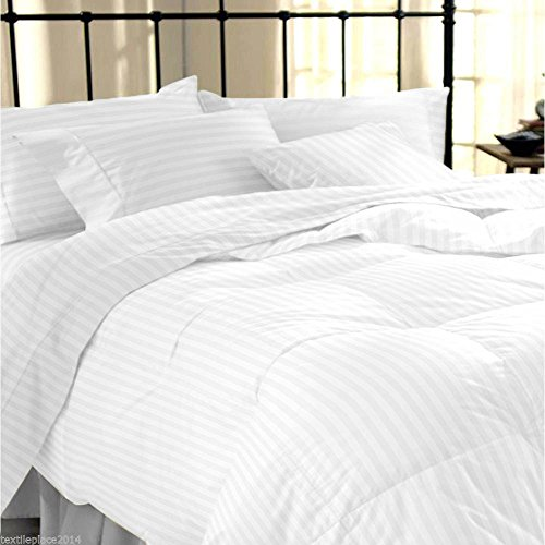 "Linenwalas Classic All Season 5* Star Hotel Single Duvet/Ac Comforter With Cotton White Stripes Duvet Cover - 60"" X 90"""